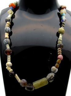 Medieval Viking period Necklace with Coloured Glass Beads - Wearable Gift with Gift Bag - 460 mm