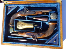 "Pair of French Officer  "" PIRMET"" pistols turned into percussion in Louis Philipe period  , in case"