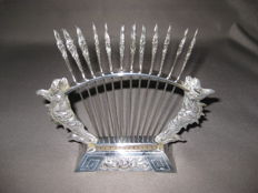 A set of 12 silver cocktail forks in matching holder - Moskou, Soviet Union - after 1958