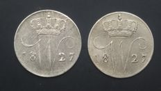 The Netherlands - 5 cents 1827 Utrecht, Willem I - 2 pieces - silver