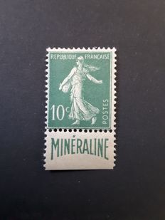 France 1926 - Semeuse 10c green with advertising strip from Minéraline - Yvert n° 188A