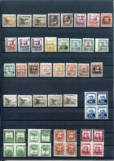 Spain 1937 - Civil War, collection of patriotic surcharges from the Canary Islands and Santa Cruz de Tenerife