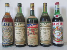 Cinzano Elixir China and Vermouth & Martinie Rosso and White Vermouth - 1 Lt. - 1950s to 1980s