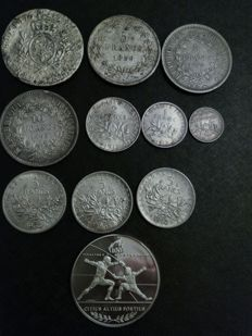 France - lot of 11 coins and medal 1753/1996 - silver