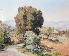 Solange Christauflour (1899-1952) - A French landscape with distant hills