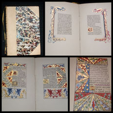Manuscript; antique holy book, completely decorated and watercoloured by hand - 1800s