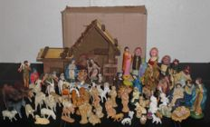 Large collection of nativity figures, Maria, Joseph, infant Jesus, shepherds, maid, kings, angels and animals