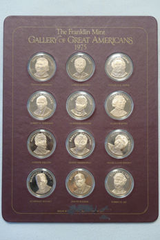 Franklin Mint - 12 Bronzemedaillen - Gallery of Great Americans - 1975