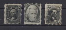 USA 1867 12 Cent, black with grey, type E 14x17 points - 1861 2 Cent black - 1867 15 Cent F grill