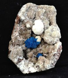 Rare combination of Cavansite Crystal with Okenite ball - 9 x 6 cm - 350 gm