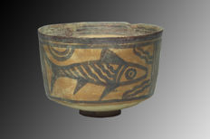 Indus Valley pottery dish with fish - 8 cm