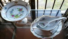 Herend porcelain fruit stand and sauce boat, hand-decorated and finished in gold. Never used, very good condition.