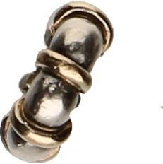 Pandora - 925/1000 Silver Pandora charm set with pieces of 14 kt gold - diameter: 0.9 cm
