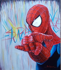 Original Oil Painting On Canvas By Gabriel Brisan - Spider-man -  Anytime(2017)