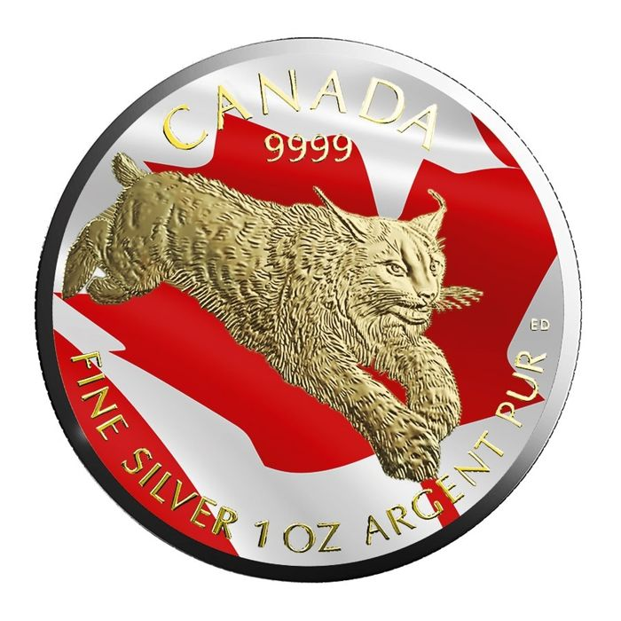 Canada - 5 Dollars 2017 'Predator Lynx' with 24 kt gold plating + coloured - 1 oz silver