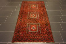 Antique hand-knotted Persian collector's carpet, Baloch collector rug carpet Tappeto rug made in Iran 105 x 190 cm