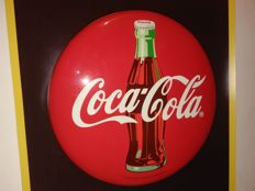 Metal-COCA COLA round sign 2003y. Coca Cola logo.Signed original from the USA.