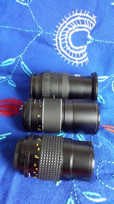 Lot of 3 lenses - Sigma Zoom 28-200 mm 1:3.8-5.6 - Osawa MC 1:2.8 f=135 mm - Ifoco Auto 1:3.5 f=200 mm