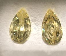 Pair 2.07/2.06ct Pear Brilliant  Fancy  Vivid Yellow VS1+VS1 IGLlab