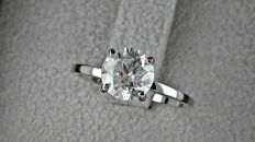 1.43 ct  round diamond ring made of 14 kt white gold - size 6,5
