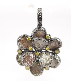 Flower Pendant in Fancy Rough Diamond- 12.03 carats and Round Yellow Diamond- 0.30 carats in 18 kt Grey Gold