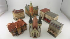 Vollmer/Faller/Kibri/Pola Scenery H0 - 6 large buildings for in a town Including: City Hall of Leer, Fire station lodging, Church, movie theatre and corner house