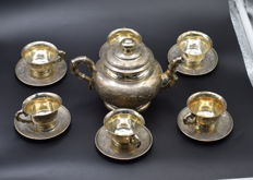 Solid  silver  Vietnamese  tea set,  hallmarked 900