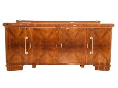 French walnut buffet with chrome handles