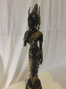 Fine bronze-coloured statue, black with gold leaf, Thailand - end of the 20th century