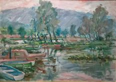 Unknown artist - Lago d'iseo (Brescia, Italy), Boats on the Lake