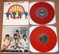"The Beatles- Great lot of 2 limited edition lp's w. special covers: Help! (Dutch reissue w. ""Shell"" cover, on RED wax) & Yesterday And Today (w. butcher cover & on ORANGE wax)"
