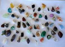 Large Lot of semi-precious stone and mineral Pendants - 12 to 32 mm 195 grams - (65)