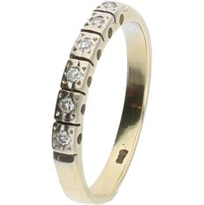 14 kt - Yellow gold ring set with 6 brilliant cut diamonds, approx. 0.06 ct in total - ring size: 16 mm