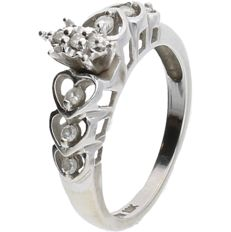 BLGG 10 kt - White gold ring set with 9 brilliant cut diamonds of approx. 0.09 ct in total - ring size: 17.25 mm