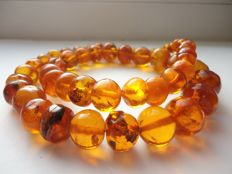 Vintage natural cognac colour Baltic Amber necklace, 104 gram
