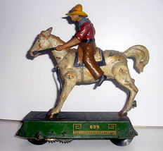 "Lehmann, Germany - length 16 cm - Tin ""Bucking Bronco"" cowboy EPL-625 clockwork powered, 20. century"