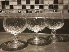 Italy crystal - 3 crystal cognac glasses.