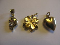 14 kt gold pendants - one heart - one clover - one dolphin
