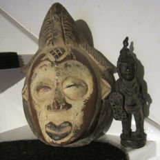 Mask and bronze figurine from Africa