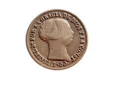Spain - Isabella II, silver coin of 2 Reales struck in Seville in 1853. Beautiful piece!