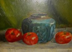 Jan de Jong (20th century) -  Stilleven met Tomaten en Chin. Pot