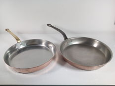 2 large professional copper cookware/frying pans -Falk & Copper Cook