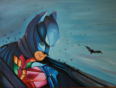 Original Oil Painting On Canvas By Gabriel Brisan - Experience Batman