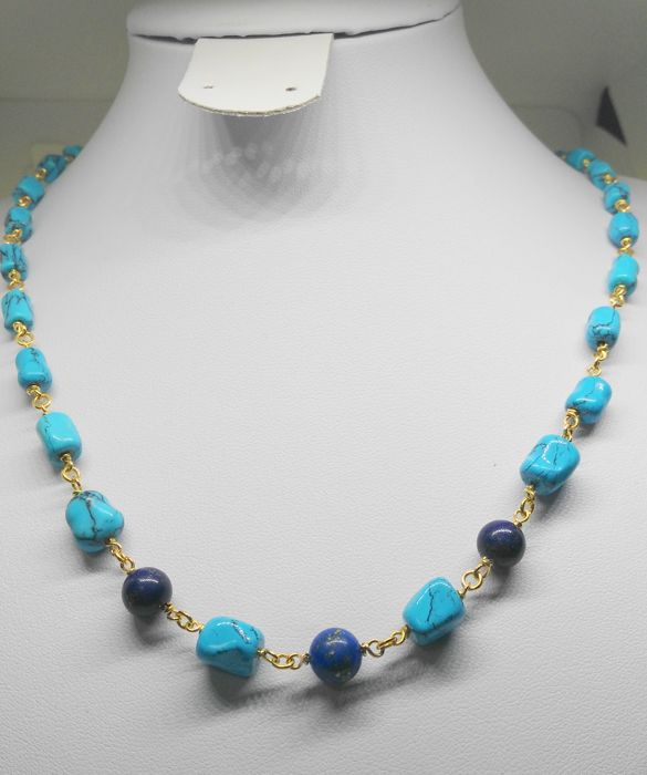 choker of 18 kt yellow gold with turquoises and lapis lazuli - total measurement 60 cm