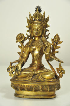 Bronze Green Tara - China - late 20th century