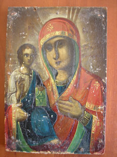 19 th century ortodox russian icon of virgin Mary Tichvinskaja hand painted