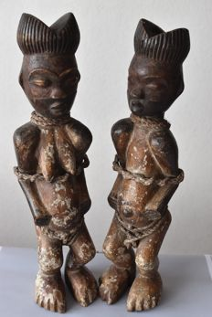 Couple of African fertility statues TEKE GABON