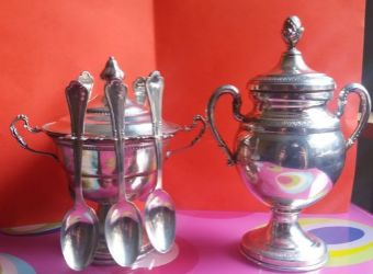 Two sugar bowls in silver 800 with spoons - Italy - 1940/1950