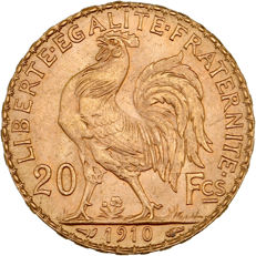France – 20 Francs 1910 'Marianne' – gold