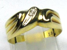Diamond ring solid 14 kt / 585 yellow gold, size 54/17.2 mm